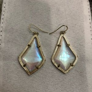 Alex Gold Drop Earrings Clear Iridescent